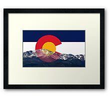 Pikes Peak Colorado Flag Framed Print