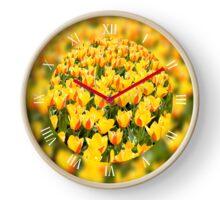 Plenty yellow and red tulips field Clock