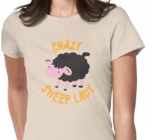 Crazy Sheep Lady (with black sheep) Womens Fitted T-Shirt