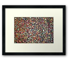 Small clean colorful stones in  the lake of Glacier National Park. Nature photography. Framed Print