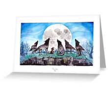 A Cat Raised by Wolves - by Mary Doodles Greeting Card
