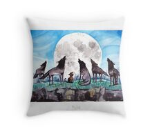 A Cat Raised by Wolves - by Mary Doodles Throw Pillow