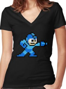 Mega Man game shirt Women's Fitted V-Neck T-Shirt