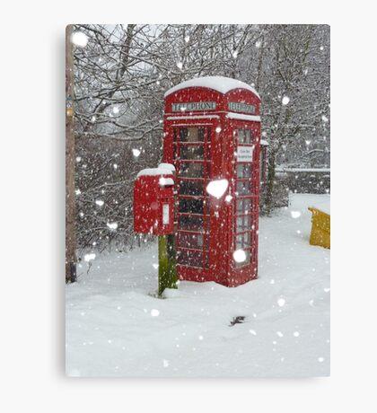Red Telephone Box. Winter. England. Canvas Print