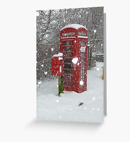 Red Telephone Box. Winter. England. Greeting Card