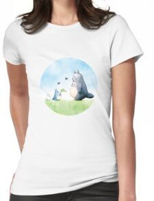 Totoro with butterflies #2 Womens Fitted T-Shirt