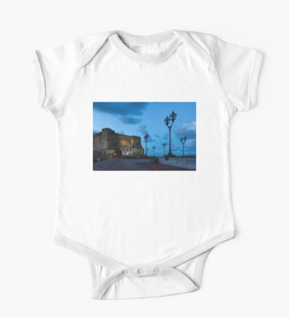 Castel dell Ovo - Blue Hour at Naples Fabulous Seaside Castle One Piece - Short Sleeve