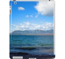 Digital art painting style landscape picture. Lake, mountain, blue sky and white clouds. iPad Case/Skin