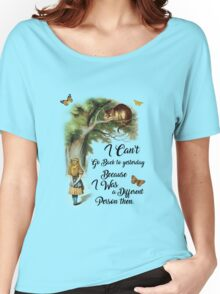 Alice in Wonderland Quote,Cheshire Cat,Vintage Dictionary Art Women's Relaxed Fit T-Shirt