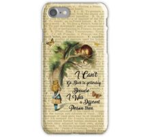 Alice in Wonderland Quote,Cheshire Cat,Vintage Dictionary Art iPhone Case/Skin