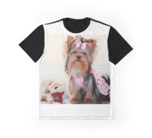 Cute Yorkie Puppy In Pink DressCute Yorkie Puppy Graphic T-Shirt