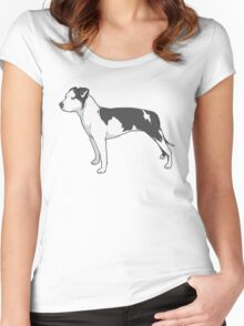 Staffordshire Terrier (black and white) Women's Fitted Scoop T-Shirt