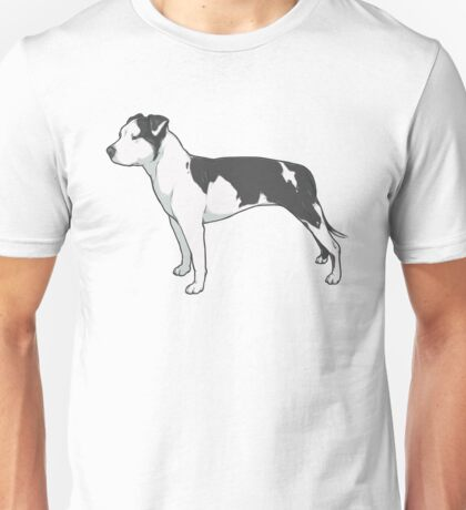 Staffordshire Terrier (black and white) Unisex T-Shirt