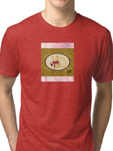 Cat sticker -Not your China Doll- pink and gold gentrified Tri-blend T-Shirt