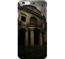 Abandoned mansion and two bats iPhone Case/Skin
