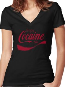 Cocaine 80's Women's Fitted V-Neck T-Shirt