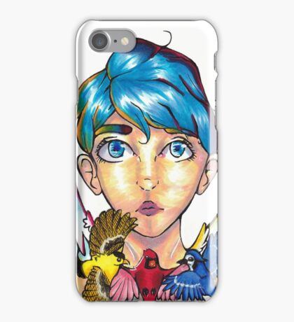 """Bird Girl"" - Primary Colors - phone case, stickers, shirts iPhone Case/Skin"