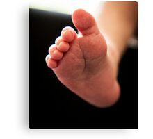 New born baby foot Canvas Print