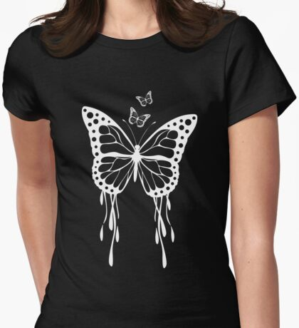 White Butterfly Womens Fitted T-Shirt