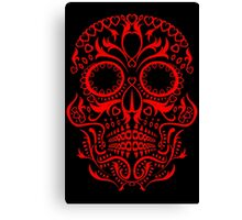 Red Day of The Dead Skull Canvas Print