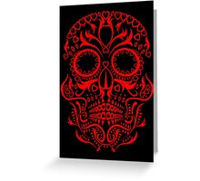 Red Day of The Dead Skull Greeting Card