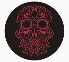 Red Day of The Dead Skull by Matthew Britton