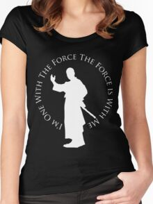 I'm One With The Force (dark shirt design) Women's Fitted Scoop T-Shirt