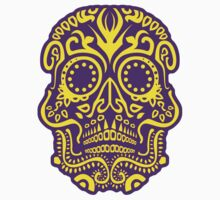 Day of the Dead Skull - Striking Yellow and Purple by Matthew Britton