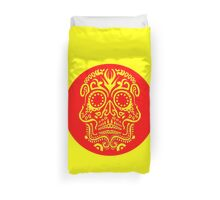 Day of the Dead Skull - Red and Yellow Duvet Cover