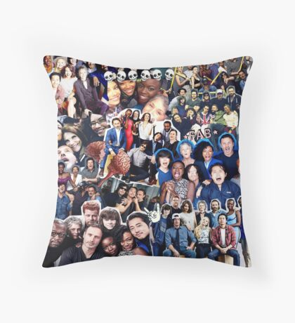 the walking dead cast collage Throw Pillow