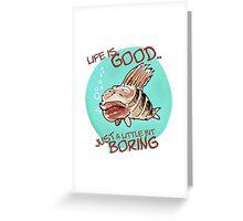 bored fish cartoon style funny illustration Greeting Card