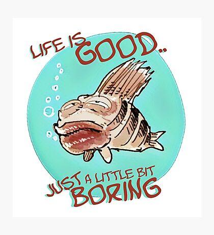 bored fish cartoon style funny illustration Photographic Print