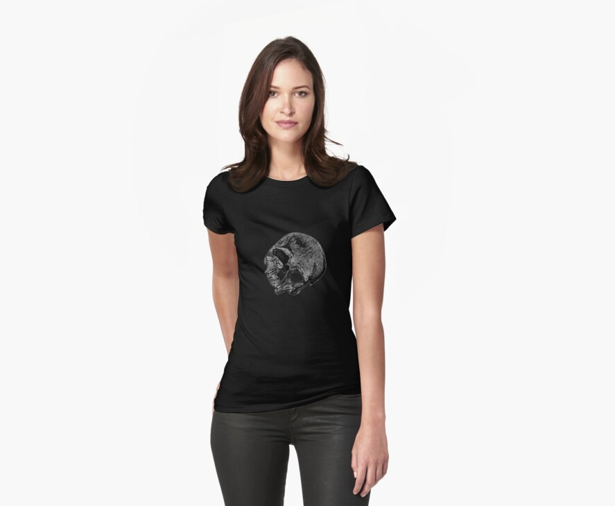 Human Skull Vintage Illustration by taiche