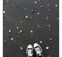 Converse and autumn leaves Photographic Print