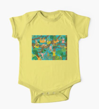 Happy Sloths Jungle  One Piece - Short Sleeve