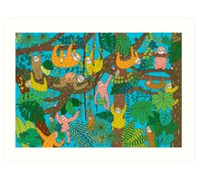Happy Sloths Jungle  Art Print