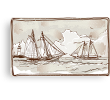 Vintage View of Sailing Ships on the Sea Canvas Print
