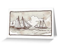Vintage View of Sailing Ships on the Sea Greeting Card