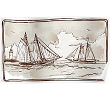 Vintage View of Sailing Ships on the Sea Poster