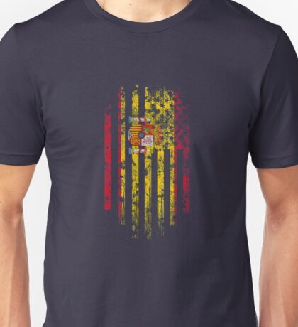 Spain and America Flag Combo Distressed Design Unisex T-Shirt