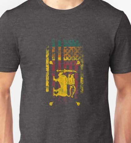 Sri Lanka and America Flag Combo Distressed Design Unisex T-Shirt