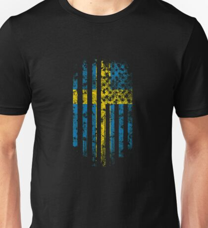 Sweden and America Flag Combo Distressed Design Unisex T-Shirt