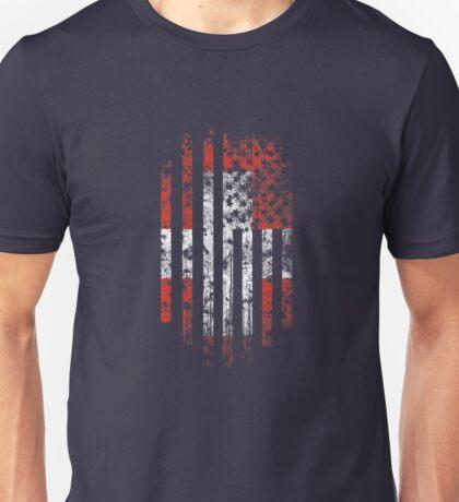 Switzerland and America Flag Combo Distressed Design Unisex T-Shirt