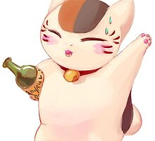 Nyanko-sensei's drunk stroll by PhantomNight