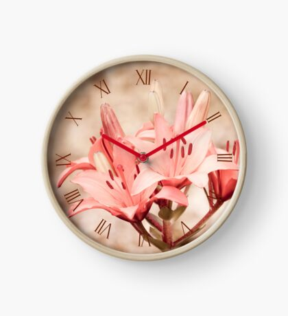 Flowering lily plant sepia toned Clock