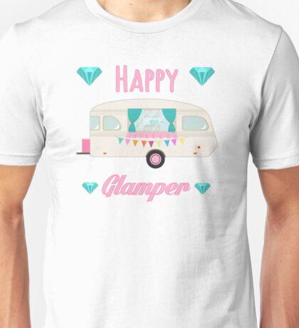Happy Glamper - Pink Glam Camper Trailer RV Camping  Unisex T-Shirt