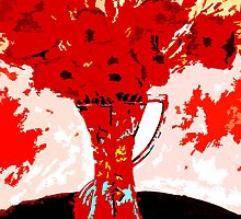 RED FLOWERS IN A VASE by pjmurphy