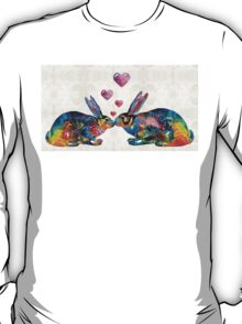 Bunny Rabbit Art - Hopped Up On Love - By Sharon Cummings T-Shirt