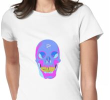 Neon Pixel Psychaedelic Halloween Skull  Womens Fitted T-Shirt