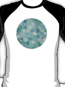 Cool Jade & Icy Mint Decorative Moroccan Tile Pattern T-Shirt